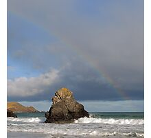 Rainbow above Sango Bay Sea Stack Photographic Print