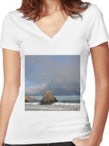 Rainbow above Sango Bay Sea Stack Women's Fitted V-Neck T-Shirt