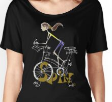 Spin, Spinning, Spin Class, Cycle - Brunette Women's Relaxed Fit T-Shirt