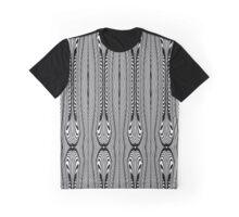 Black and White Art Deco Wishbone Tribal Pattern Graphic T-Shirt