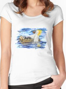 A Fluffy Bird Lost at Sea Women's Fitted Scoop T-Shirt
