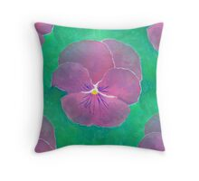 Purple Pansy Acrylic Painting Throw Pillow