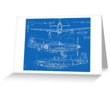 P-51 Concept Blueprints Greeting Card