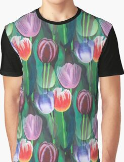 Tulips Bouquet Acylic Painting Graphic T-Shirt