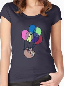 Sloth Floating Away Women's Fitted Scoop T-Shirt