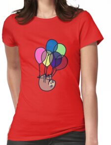 Sloth Floating Away Womens Fitted T-Shirt