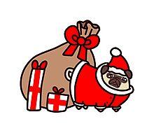 Christmas Santa Claus Pug Photographic Print