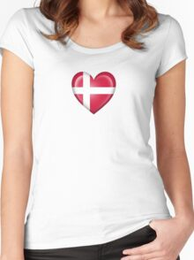 Danish Heart Flag Women's Fitted Scoop T-Shirt