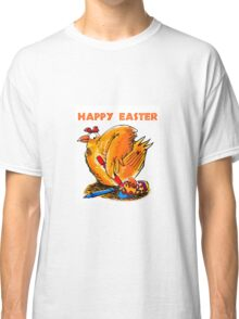 happy easter caricature chicken paint own eggs Classic T-Shirt