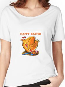 happy easter caricature chicken paint own eggs Women's Relaxed Fit T-Shirt