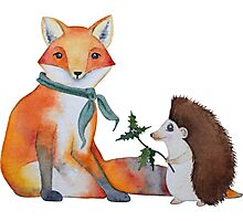 Fox and Hedgehog Have a Picnic Photographic Print