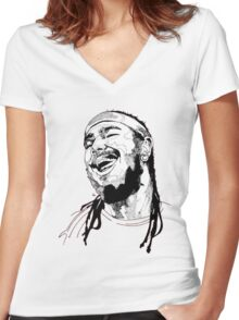 Post Malone Drawing Women's Fitted V-Neck T-Shirt