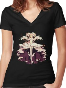 Ultimate Madoka Magica - Black  Women's Fitted V-Neck T-Shirt