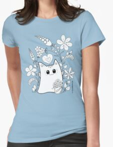 Cute Kawaii Cat Neko Yoko in Garden Flowers Womens Fitted T-Shirt