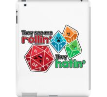Polyhedral Pals - They See Me Rollin' - They Hatin' - d20 & d10s iPad Case/Skin