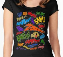 Onomatopoeia Collage #1 (1 of 2) Women's Fitted Scoop T-Shirt