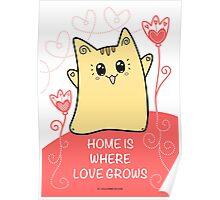 Cute Kawaii Cat Neko Yoko - Home of Love Poster