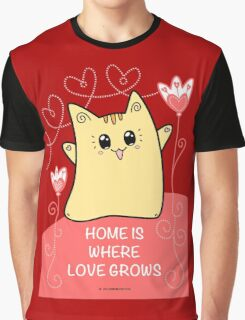 Cute Kawaii Cat Neko Yoko - Home of Love Graphic T-Shirt