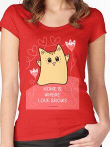 Cute Kawaii Cat Neko Yoko - Home of Love Women's Fitted Scoop T-Shirt