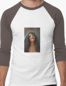 Colorized Vintage Portrait of a Woman in Ecstasy circa 1910 Men's Baseball ¾ T-Shirt