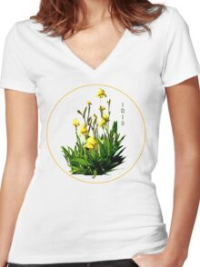 Flower Series  - Iris with transparent background Women's Fitted V-Neck T-Shirt