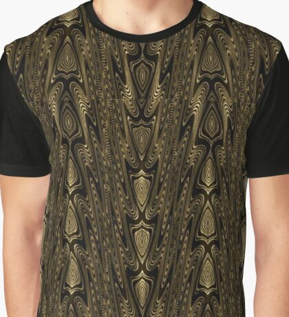 Intricate Gold and Black Arrowhead Tribal Design Graphic T-Shirt