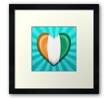 Ivory Coast Heart Flag Framed Print