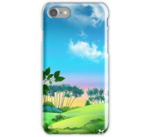 landscape with palms against the blue sky iPhone Case/Skin