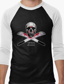 Hockey Mask Skull and Machetes Men's Baseball ¾ T-Shirt