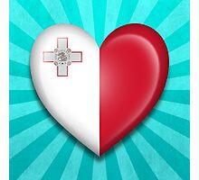 Maltese Heart Flag Photographic Print
