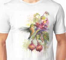 Hummingbird Eating from Fuchsia Flower Watercolor Unisex T-Shirt