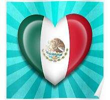 Mexican Heart Flag Poster