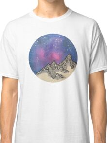 Moon Galaxy Mountain Travel Wanderlust Stars Space Boho Hipster Print Classic T-Shirt
