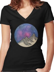 Moon Galaxy Mountain Travel Wanderlust Stars Space Boho Hipster Print Women's Fitted V-Neck T-Shirt