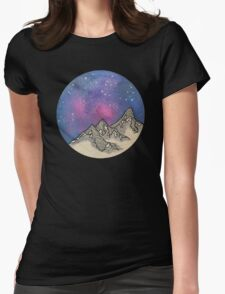 Moon Galaxy Mountain Travel Wanderlust Stars Space Boho Hipster Print Womens Fitted T-Shirt