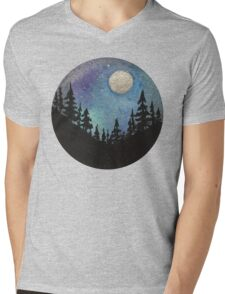 Forest Nature Hiking Travel Wanderlust Galaxy Moon Hipster Camping Print Mens V-Neck T-Shirt