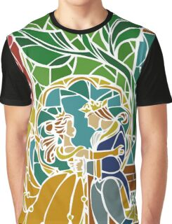 Beauty and The Beast - Stained Glass Graphic T-Shirt