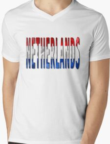 Netherlands Word With Flag Texture Mens V-Neck T-Shirt