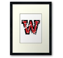 Letter W (Distressed) two-color black/red character Framed Print
