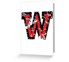 Letter W (Distressed) two-color black/red character Greeting Card