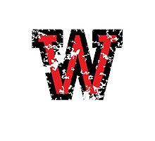 Letter W (Distressed) two-color black/red character Photographic Print