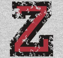 Letter Z (Distressed) two-color black/red character One Piece - Short Sleeve