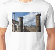 Ancient Pompeii - the Forum Columns Framing Mount Vesuvius Volcano Unisex T-Shirt