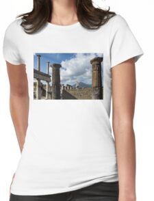Ancient Pompeii - the Forum Columns Framing Mount Vesuvius Volcano Womens Fitted T-Shirt