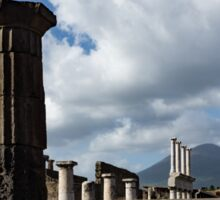 Ancient Pompeii - the Forum Columns Framing Mount Vesuvius Volcano Sticker