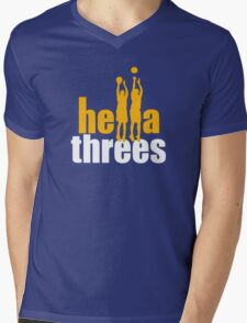 Hella Threes Mens V-Neck T-Shirt