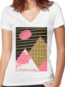 mountains Women's Fitted V-Neck T-Shirt