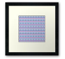 Pink Pastel Hearts and Blue Stripe Pattern Framed Print