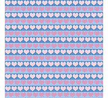 Pink Pastel Hearts and Blue Stripe Pattern Photographic Print