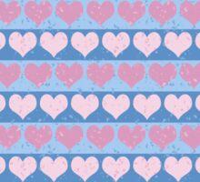 Pink Pastel Hearts and Blue Stripe Pattern Sticker